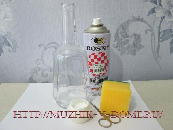 материалы и инструменты для изготовления праздничной бутылки к новому году