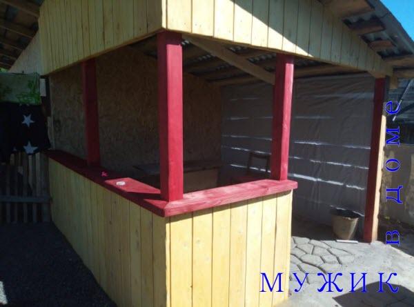 пристройка беседки под одну крышу к сараю или бане