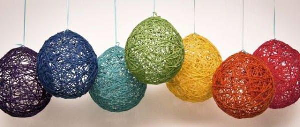 новогодние шары из ниток и клея своими руками