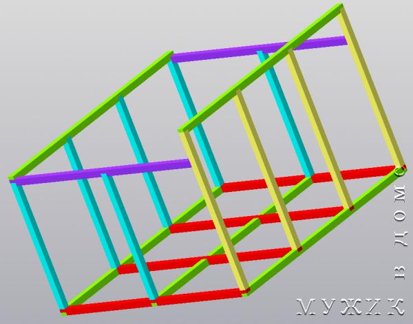 Модель беседки из бруса 3х3 метра