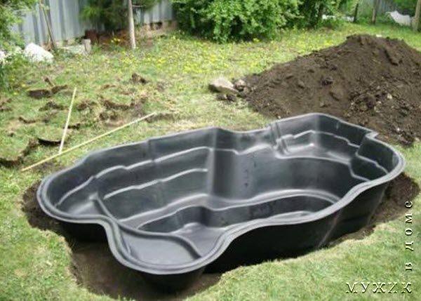 Установка ванны для пруда своими руками