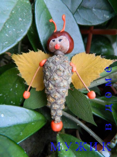 Бабочка из шишки