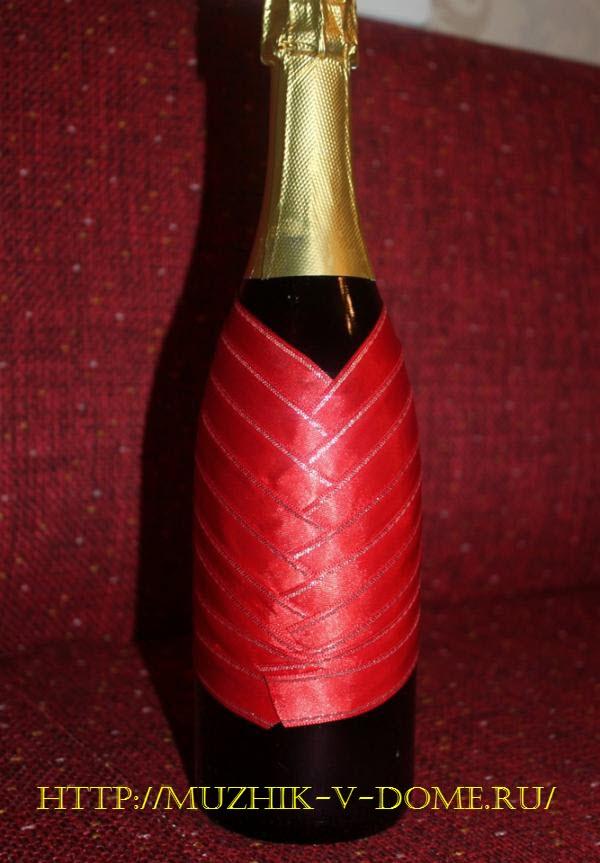 оформление бутылки шампанского на новый год