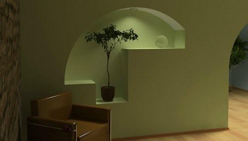 декоративная ниша в стене с цветком и подсветкой