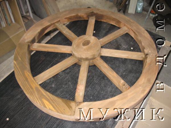 деревянное колесо для телеги покрытое лаком
