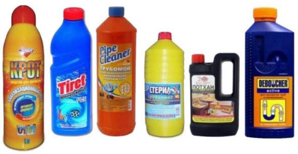 устранение засоров канализации химическим способом