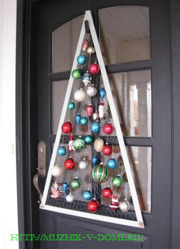 Как сделать елку на новый год своими руками - панно с изображением ели на дверь