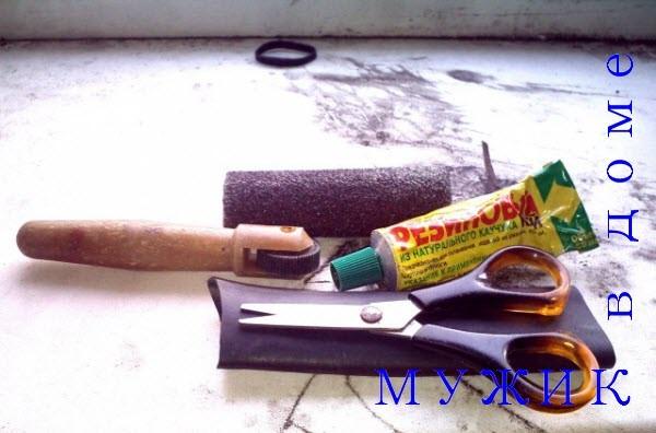 резиновый клей, прикатной ролик, ножницы, наждачная бумага, резина