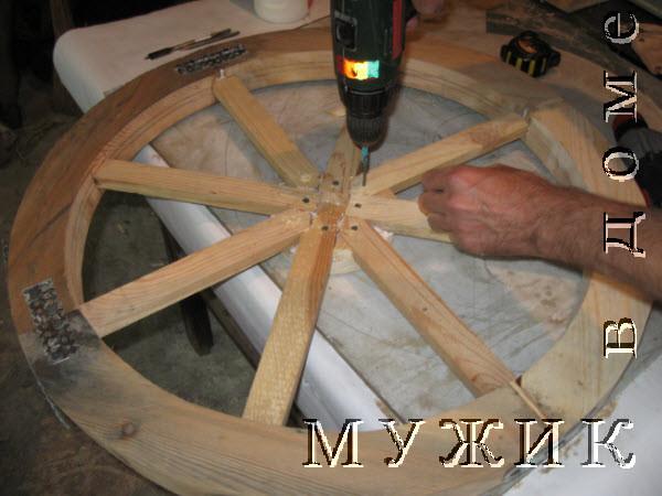 колесо деревянное для телеги
