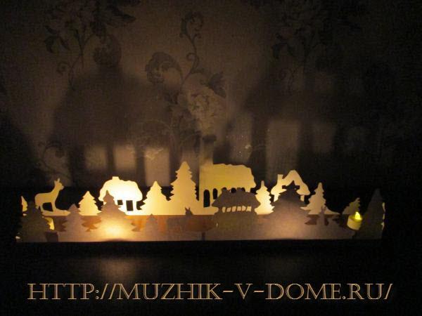 композиция на новый год с подсветкой из бумаги