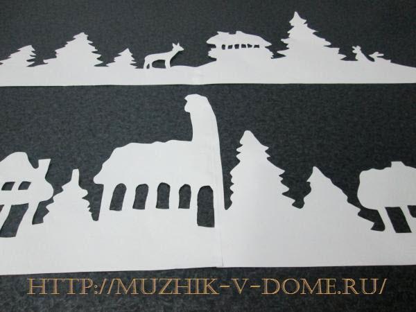 шаблоны для вырезания новогодней композиции из бумаги