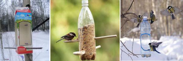 Как сделать кормушку для птиц из пластиковых бутылок и коробок?