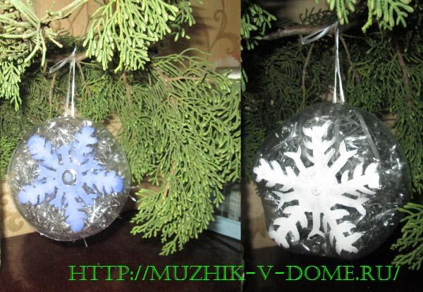 креативная объемная снежинка-игрушка на елку своими руками