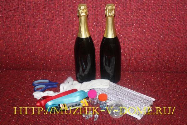 украсить бутылку шампанского на новый год