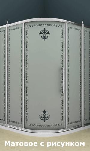 Душевой угол с рисунком на матовом стекле
