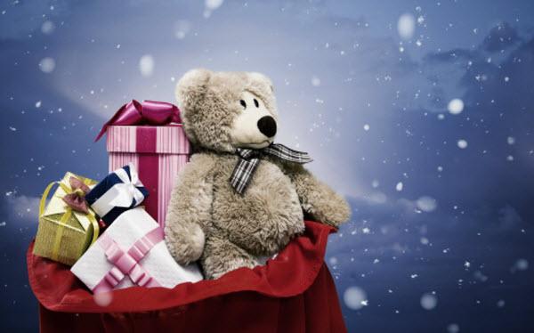 недорогие новогодние подарки мишка коробки мешок