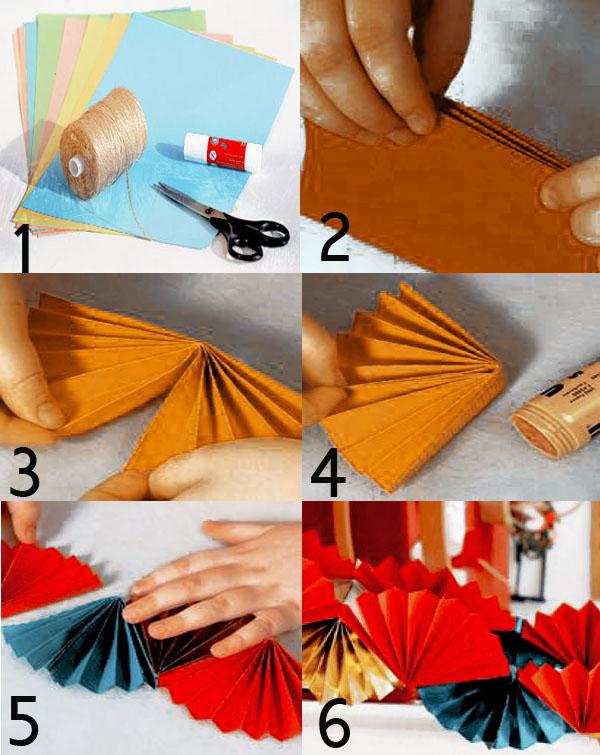 новогодняя бумажная гирлянда из вееров своими руками