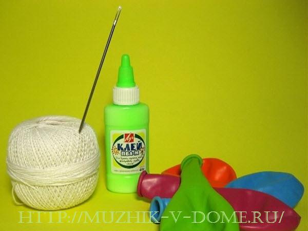 как самому сделать новогодние шары из ниток
