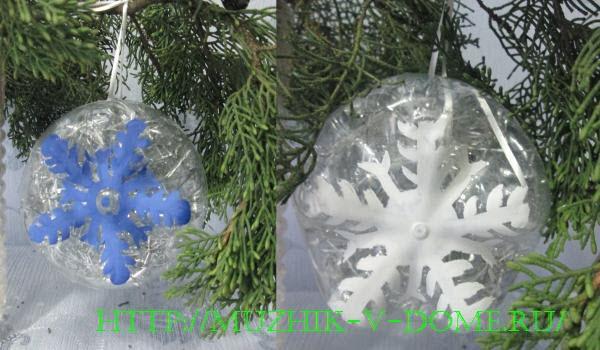 объемная снежинка из пластиковых бутылок своими руками