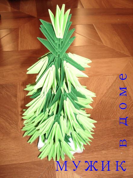 Елка оригами из бумаги своими руками