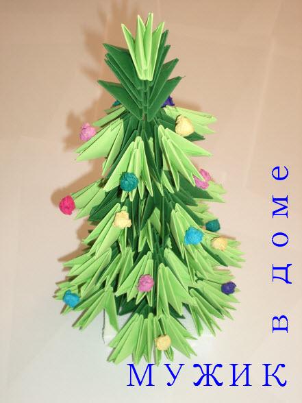 новогодняя елка оригами из модулей