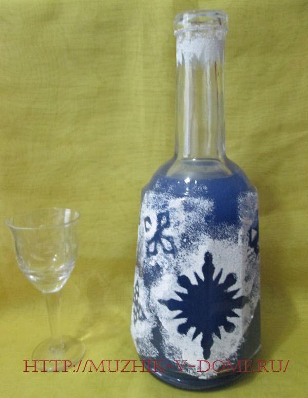 оформление бутылки на новый год
