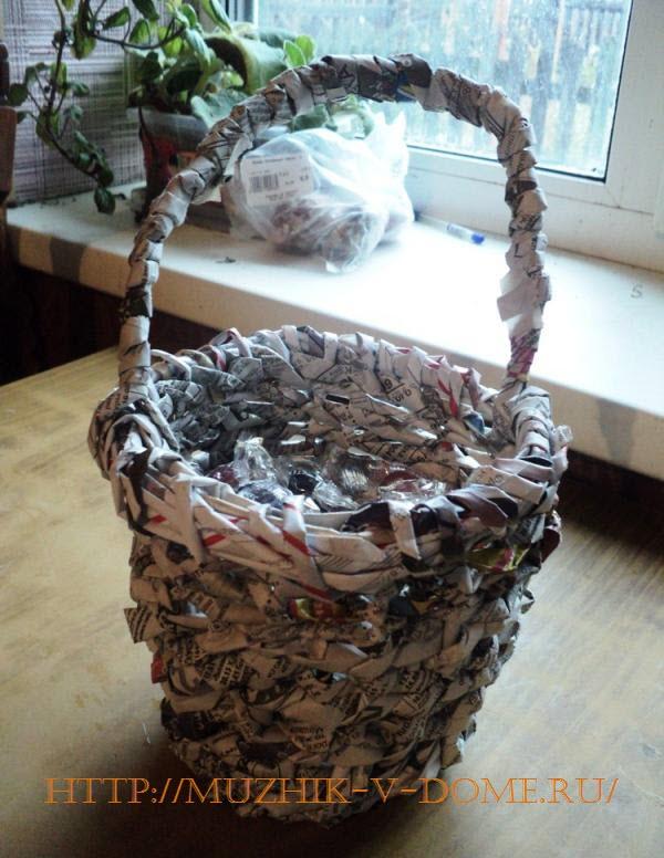 Декоративная плетеная корзинка готова