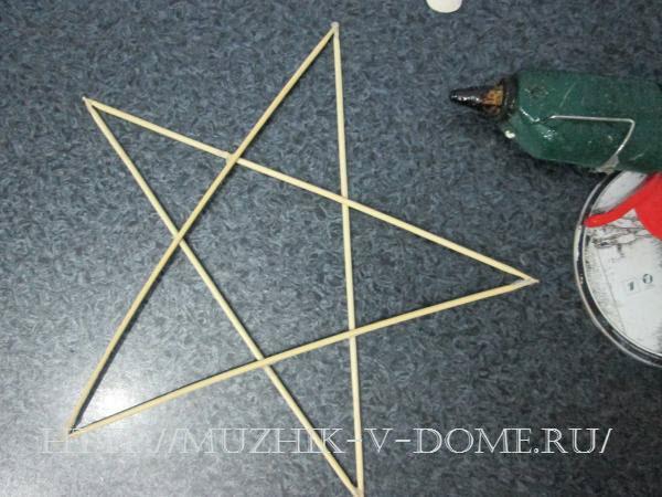 форма звезды из шашлычных деревянных палочек