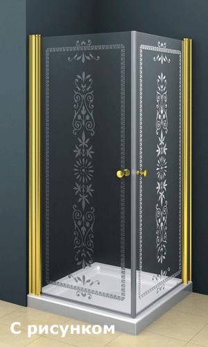 Душевой угол со стеклянными дверями с рисунком