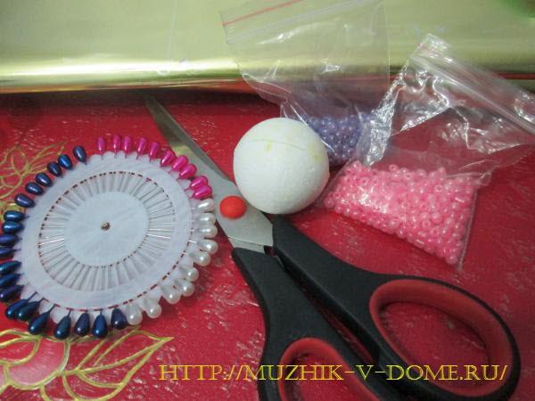 как сделать елочный шарик из бисера своими руками
