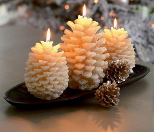 новогодние поделки своими руками свечи из шишек